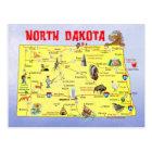 ノースダコタの州の地図 ポストカード