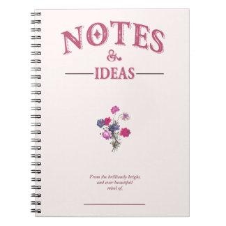 ノートおよびアイディアジャーナル、クリーム、ヴィンテージ、花柄 ノートブック