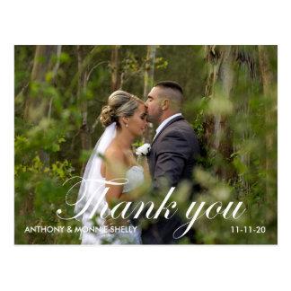 ノートとのエレガントな2つの写真の結婚式はPostc感謝していしています ポストカード