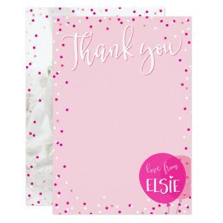 ノートのかわいいピンクの気球の紙吹雪ありがとう カード