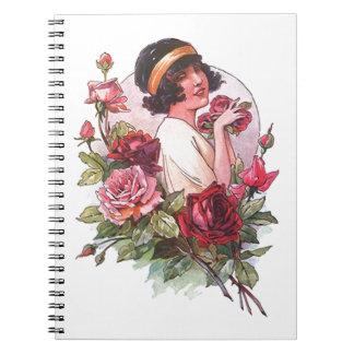 ノートのフラッパー及びバラ日記ジャーナルファッション ノートブック