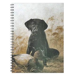 ノートのヴィンテージのラブラドルの子犬の小犬のアヒルのおとり ノートブック