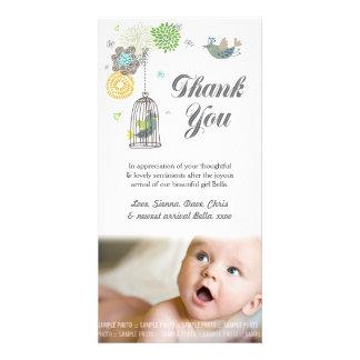 ノートの女の赤ちゃんの写真カードテンプレートありがとう カード