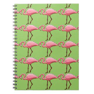 ノートの海緑のピンクのフラミンゴの繰り返しパターン ノートブック
