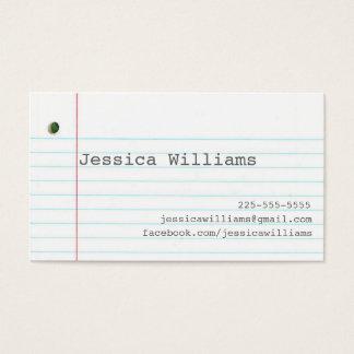 ノートの紙 名刺