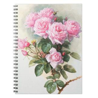 ノートを絵を描いているヴィンテージのピンクのバラ ノートブック