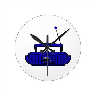 ノートbluish.pngが付いているカセットboombox ラウンド壁時計