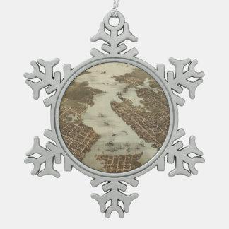 ノーフォークおよびポーツマスVA (1873年)のヴィンテージの地図 スノーフレークピューターオーナメント
