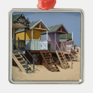 ノーフォークのビーチ小屋 メタルオーナメント