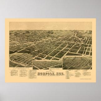 ノーフォークのNEのパノラマ式の地図- 1889年 ポスター