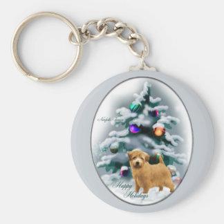 ノーフォークテリアのクリスマスのギフト キーホルダー