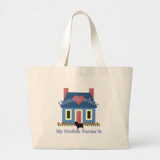 ノーフォークテリアの家はあります ラージトートバッグ