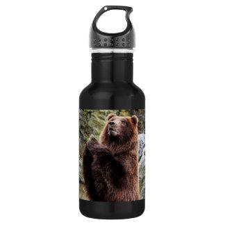 ハイイログマのヒグマの野性生物の写真 ウォーターボトル