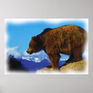 ハイイログマは崖に関係します ポスター