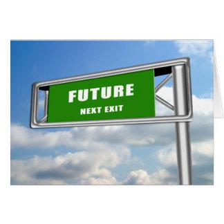 ハイウェーの出口の印の卒業の未来次に カード