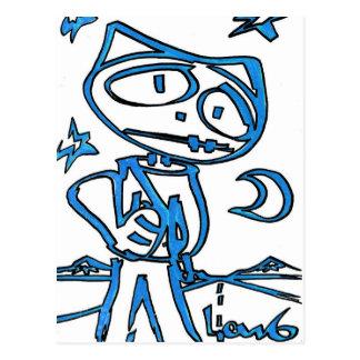 ハイウェー(猫の英雄)の青いStitchlip ポストカード