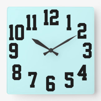 ハイコントラスト大きい数簡単の読書 スクエア壁時計
