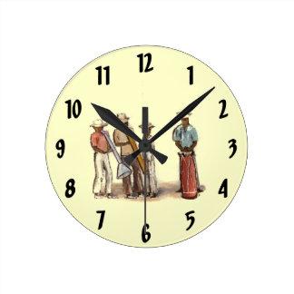 ハイチの通りのミュージシャンの時計 ラウンド壁時計