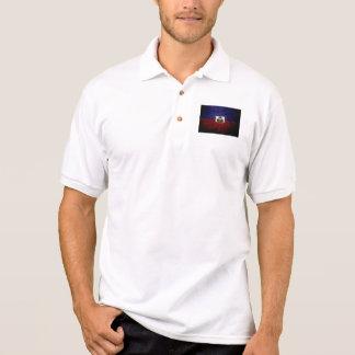 ハイチの黒くグランジな旗 ポロシャツ