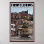 ハイデルベルク-彫像および城 ポスター