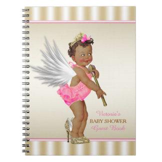 ハイヒールの天使の民族の女の子のベビーシャワーの来客名簿 ノートブック