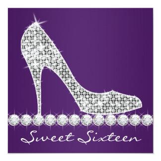 ハイヒールの紫色のSweet sixteenの誕生会 13.3 スクエアインビテーションカード