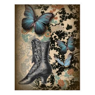 ハイヒールの靴の恋人の黒の花柄のビクトリア時代の人 ポストカード