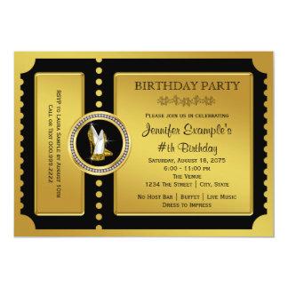 ハイヒールの靴の金チケットの誕生会 12.7 X 17.8 インビテーションカード