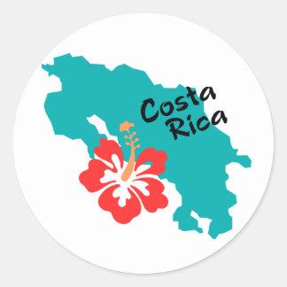 ハイビスカスが付いているコスタリカの地図 ラウンドシール