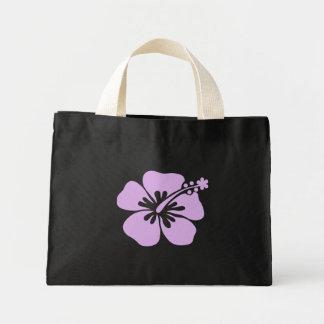 ハイビスカスのアロハ花のラベンダー ミニトートバッグ