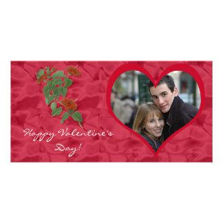 ハイビスカスのバレンタインデーの写真カード カード