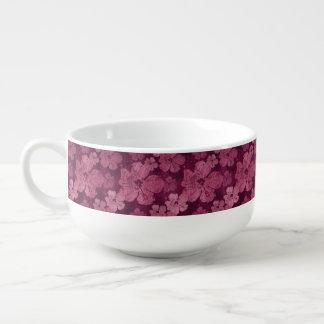 ハイビスカスのピンクの花のろうけつ染め スープマグ