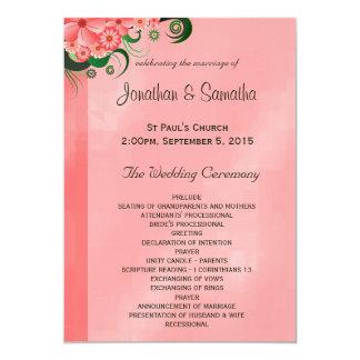 ハイビスカスのピンクの花の結婚式プログラムのテンプレート 12.7 X 17.8 インビテーションカード