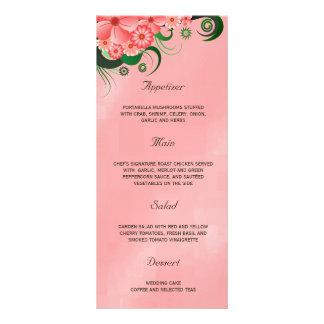 ハイビスカスのピンクの花の結婚式夕食メニューカード ラックカードテンプレート