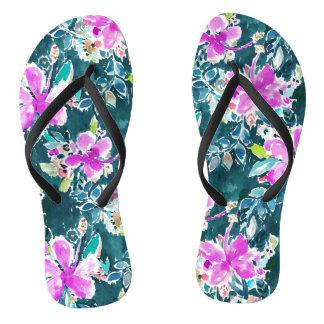 ハイビスカスのポップ・アートのな熱帯Bohoのシックな花の水彩画 ビーチサンダル