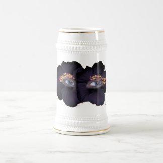 ハイビスカスの目-黒か紫色 ビールジョッキ