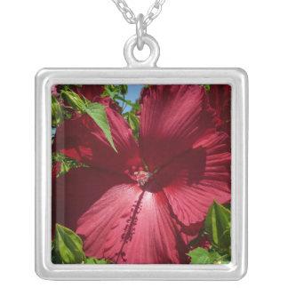 ハイビスカスの花および青空の夏の自然の写真 シルバープレートネックレス