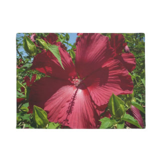 ハイビスカスの花および青空の夏の自然の写真 ドアマット
