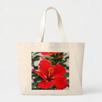 ハイビスカスの花が付いている大きいキャンバスのトートバック ラージトートバッグ