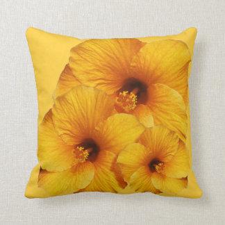 ハイビスカスの花のアメリカ人のMoJoのオレンジ枕 クッション