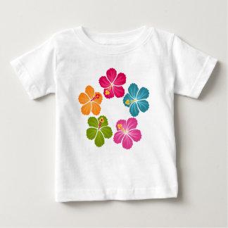 ハイビスカスの花のリース ベビーTシャツ