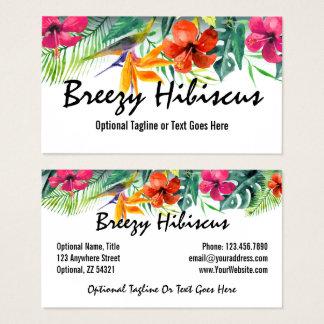 ハイビスカスの花の熱帯楽園のハワイアンの花柄 名刺