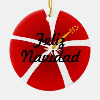 ハイビスカスの花のFeliz赤いNavidadのオーナメント セラミックオーナメント