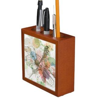 ハイビスカスの花及び水彩画の背景 ペンスタンド