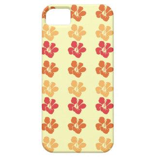 ハイビスカスの花: 暖かく赤いオレンジ金ゴールドのiphoneの箱 iPhone SE/5/5s ケース