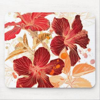 ハイビスカスの花-水彩画のペンキ2 マウスパッド