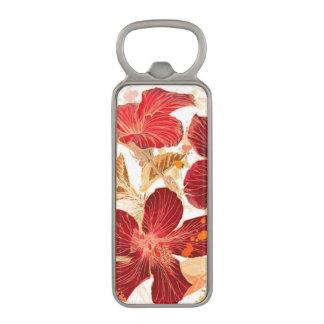 ハイビスカスの花-水彩画のペンキ2 マグネット栓抜き