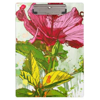 ハイビスカスの花-水彩画のペンキ クリップボード