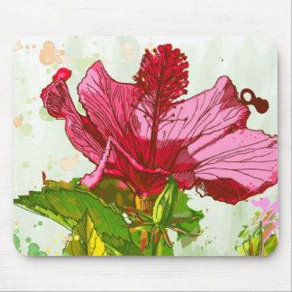 ハイビスカスの花-水彩画のペンキ マウスパッド