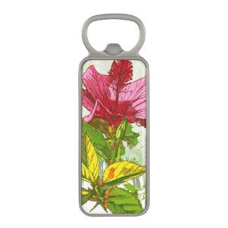 ハイビスカスの花-水彩画のペンキ マグネット栓抜き